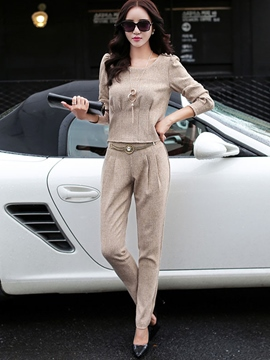 Ericdress Solid Color Casual Suit
