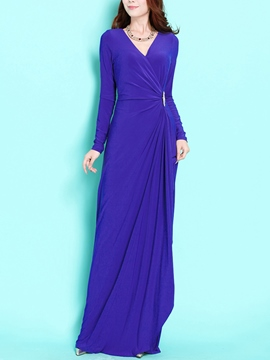 Ericdress Soild Color Long Sleeve V-Neck Maxi Dress