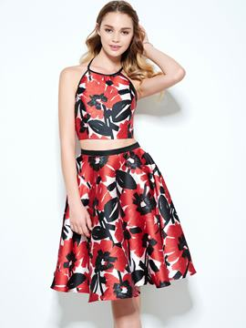 Ericdress A-Line Halter Printed Knee-Length Homecoming Dress