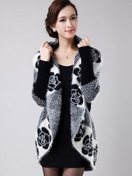 Ericdress Color Block Printed Batwing Knitwear