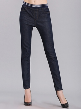Ericdress Solid Color Pencile Jeans