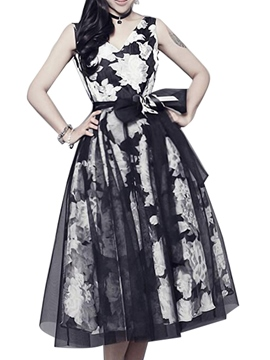 Ericdress Flower Print V-Neck Lace-Up Patchwork Casual Dress