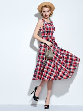 Ericdress Plaid Lace-Up Bowknot Vintage Casual Dress