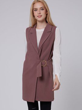 Ericdress Solid Color Slim Vest