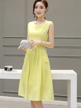Ericdress Summer Yellow Sleeveless A-Line Casual Dress