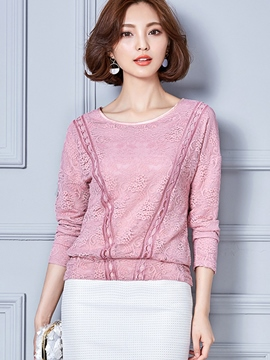 Ericdress Solid Color Loose Lace T-Shirt