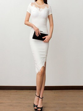 Ericdress Solid Color Asymmetric Patchwork Sheath Dress