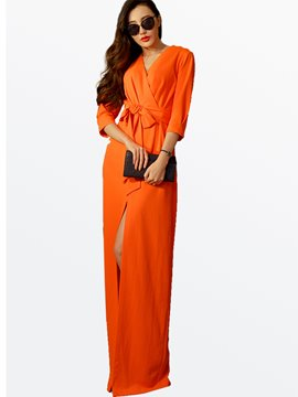 Ericdress Solid Color Floor-Length Maxi Dress