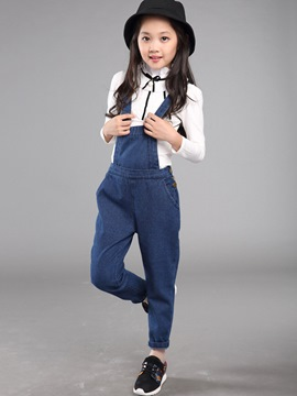 Ericdress Fashion Suspender Pants Bowknot Falbala Collar Girls Outfits