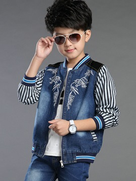 Ericdress Denim Patchwork Stripe Boys Jacket