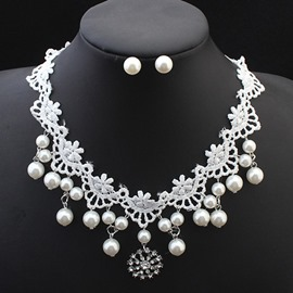Ericdress Beautiful Pearl Lace Jewelry Set