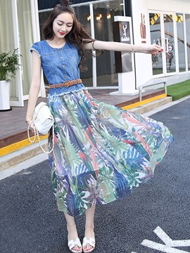 Ericdress Denim Patchwork Short Sleeve Maxi Dress
