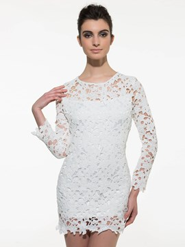 Ericdress Plain Lace Dress