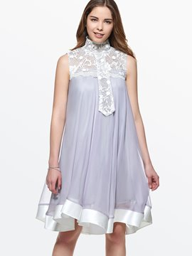 Ericdress Lace Patchwork Expansion Pleated Casual Dress