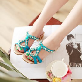 Ericdress Bright Rhinestone Flat Sandals