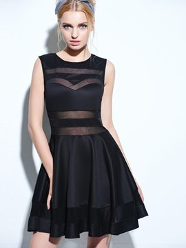 Ericdress Modern Black Mesh Panel Club Skater Dress