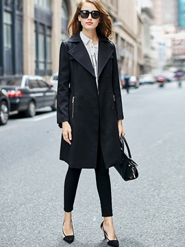 Ericdress Solid Color Slim Polo Trench Coat