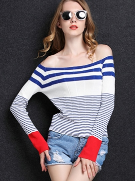 Ericdress Stripped Color Block Off-Shoulder Knitwear