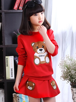 Ericdress Cartoon Hoodie Girls Skirt Outfit
