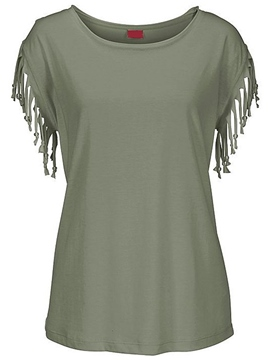 Ericdress Solid Color Casual Tassel T-Shirt