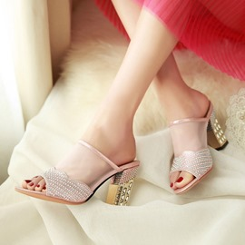 Ericdress Rhinestone Mesh Patchwork Chunky Mules Shoes