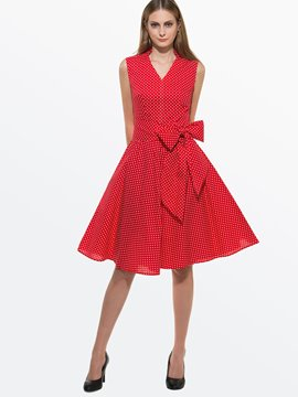 Ericdress Summer Polka Dots Sleeveless Lace-Up Casual Dress