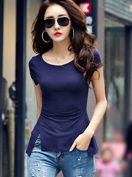 Ericdress Solid Color Slim T-Shirt