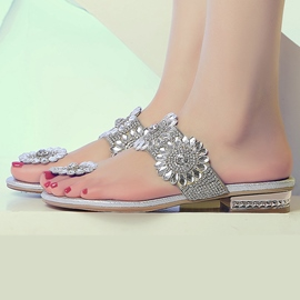 Ericdress Charming Silver Rhinestone Mule Shoes
