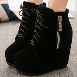 Ericdress Platform Lace up Wedge Ankle Boots
