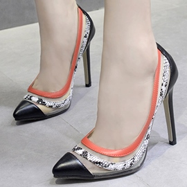 Ericdress Snake&mesh Patchwork Point Toe Pumps