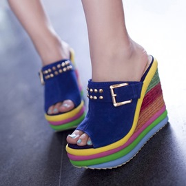 Colorful Peep-toe Wedge Sandals with Rivets