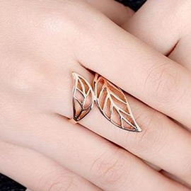 Ericdress Personality Rose Gold Leaf Ring