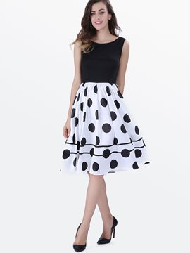 Ericdress Polka Dots Patchwork Expansion A Line Dress