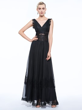 Ericdress A-Line V-Neck Lace Floor-Length Evening Dress
