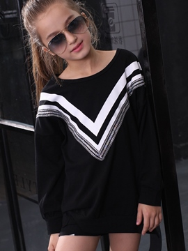 Ericdress V Printed Tee Long Girls Tops