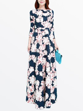 Ericdress Flower Print Three-Quarter Sleeve Expansion Maxi Dress