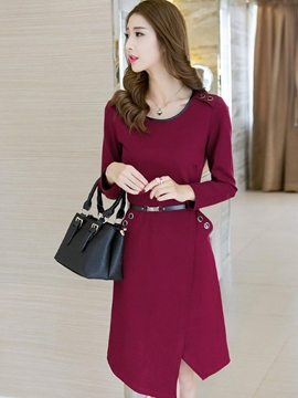 Ericdress Solid Color Asymmetric Belt Casual Dress
