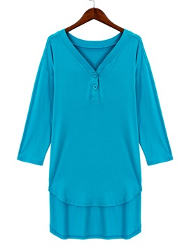 Ericdress Solid Color V-Neck Casual T-Shirt