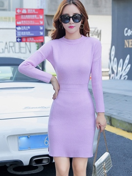 Ericdress Plain Long Sleeve Sweater Dress