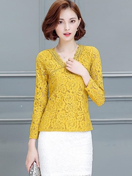 Ericdress V-Neck Lace Slim Blouse