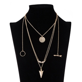 Ericdress Multilayer Alloy Arrow Pendant Necklace