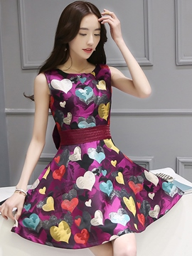Ericdress Summer Sleeveless Print Cinched Casual Dress