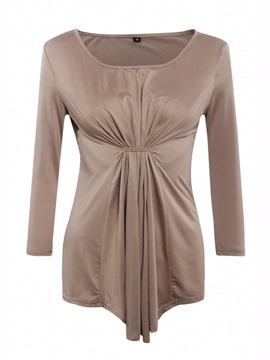 Ericdress Solid Color Pleated Loose T-Shirt