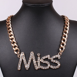 Ericdress Letter Diamante Chain Necklace