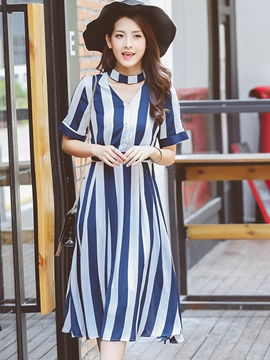 Ericdress Summer Stripe Short Sleeve Maxi Dress
