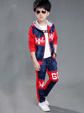 Ericdress Color Block Letter Printed Hooded Two-Piece Boys Outfits
