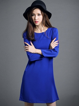 Ericdress Plain Bowknot Long Sleeve Casual Dress