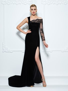 Ericdress One-Shoulder Long Sleeves Lace Split-Front Court Train Evening Dress