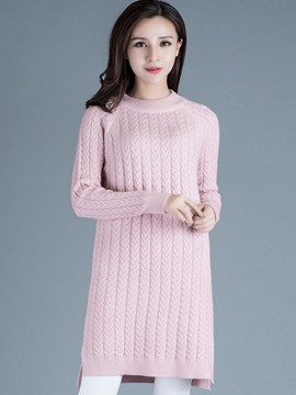Ericdress Solid Color Straight Knitwear