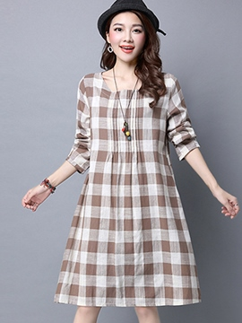 Ericdress Plaid Long Sleeve Loose Casual Dress